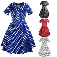 Ladys Polka Dot 1950s Vintage Retro Swing Pinup Evening Party Dress Tea Dress
