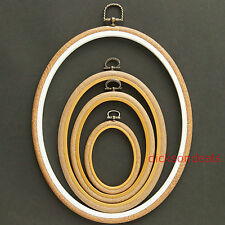 "Oval Flexi Hoop Woodgrain Effect Frame Embroidery Cross Stitch 2.5"" to 10"""
