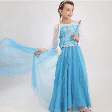 Kids Girls Dresses Elsa Frozen dress costume Princess Anna party dresses 4-8T