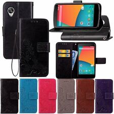 Retro Leather Skin Flip Wallet Card Strap Cover Case For LG Google Nexus 5 E980