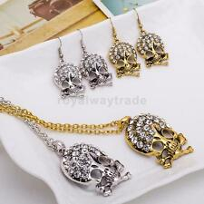 Women Punk Goth Jewlry Skull Ear Crystal Rhinestone Halloween Necklace Earrings