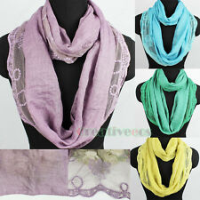Fashion Women's Lotus Dot Stitching Infinity Loop Cowl Eternity Casual Scarf New