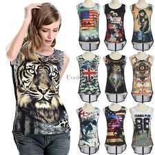 3D Digital Print Womens Vest Tops Singlet Camisole T-Shirt Tank Sleeveless Tops