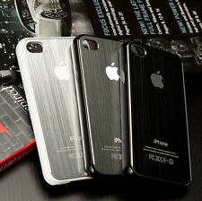 BRUSHED ALUMINIUM CASE COVER FITS IPHONE 4 4S FREE SCREEN PROTECTOR
