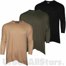 Mens New Soulstar Casual Longline T Shirts Longsleeve Curved Relaxed Fit Top