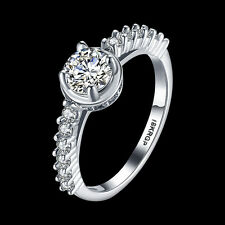Fashion 18k white gold plated ring AAA Cubic zirconia Wedding Jewelry xmas gift