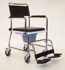 Mobile Wheeled Commode Chair Z-Tec Mobility Quality Deluxe Padded Seat & Bucket