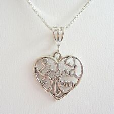 Grand Mom Sterling Silver Pendant Charm and Necklace- Free Shipping
