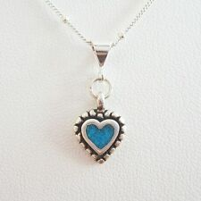Turquoise Beaded Heart Sterling Silver Pendant Charm and Necklace- Free Shipping