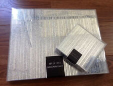 Set Of 6 Sparkle Glass Glitter Placemats & 6 Coasters Silver/Gold Dining Table