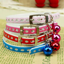 Adjustable Puppy Dog Kitty Cat Waterproof Neck Collar With Bell 4 Color Best
