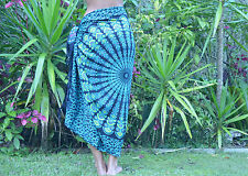Summer Colourful spiral peacock sarong in Pink blue or green.