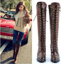 Women  Over The Knee Boots Leather  Side Zip Fleece Chunk High Heel Lace Up Shoe