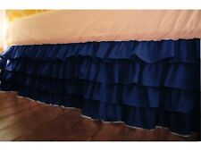 "Stylish 1-QTY Multi Ruffle Bed-Skirt/Valance Drop 8"" To 20"" Navy Blue Solid"