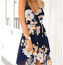 Summer Sundress Beach Harness Dress Halter Irregular Sexy Printed Chiffon