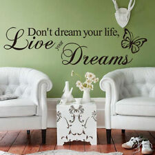 Live Your Dreams PVC Art Decal DIY Decor Quote Home Wall Sticker Removable UK