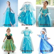 SNOW ELSA KIDS GIRLS ANNA DRESS PRINCESS DRESS COSTUME COSPLAY  FOR FROZEN PARTY