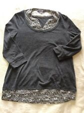 M&S Collection Grey Marl 3/4 Sleeve Top False Under Top Size 12