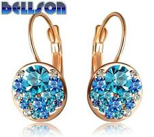 Round Earrings Stud 18K Rose Gold Plated Stellux Austrian Crystals Women Jewelry