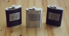 Monogram Personalized Brown / Black Genuine Leather Wrap Stainless Steel Flask