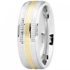 EXCELLENT 14K Yellow & White GOLD Two Tone 7mm MODERN Wedding Band RING new