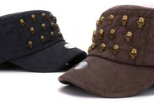 Adult suede adjustable army hat 3D skulls decoration flat top cap strap military