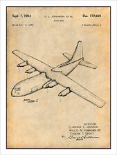 Lockheed C-130 Hercules Transport Aircraft Patent Print Art Drawing Poster 18X24