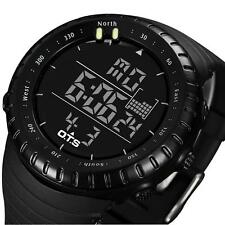 Men Sport Stainless Steel LED Digital Date Quartz Analog Military Wrist Watch