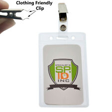 10 Pack - Vertical Name Tag Badge Holders with Snag Free Clips by Specialist ID