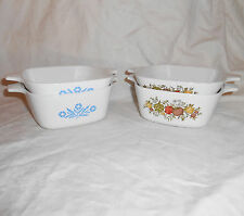 Corning Ware Petite Pans #P-41-B and #P-43-B Square Casserole Dish Set
