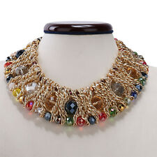 Multi-Color Rhinestone Statement Gold Tone Twisted Cluster Choker Bib Necklace