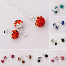 Fashion Necklace Earrings set Crystal Disco ball bead Silver Stud Jewelry Set