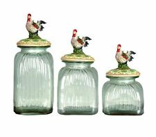 Canister Set Rooster Lids 3-Piece Glass Country Kitchen