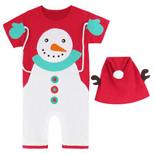 Baby Boy Santa Claus Costume Romper with Hat Infant Christmas Onesie 0-18 Months