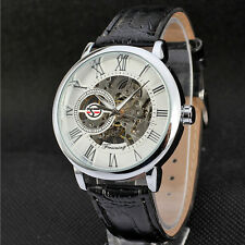 Mens Luxury Steampunk Skeleton Stainless Steel Automatic Mechanical Wrist Watch