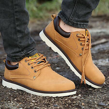 Men Fashion Faux Leather Sneakers Lace Up Sports Flat Work Shoes Boots Precious