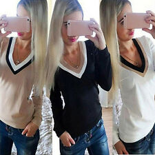 Women V-Neck Color Stitching Top Long Sleeves T-Shirt Shirt Blouse Classy