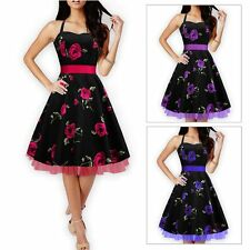 Sexy Ladies Women Vintage Check Swing Printing Dress Evening Party Prom Ball