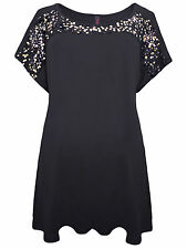 Womens plus size 22 24 26 28 30 top black tunic gold sequin detail short sleeve