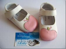 Girls White/Pink apple Leather Shoes for Toddler & Kids for age 1 - 6years
