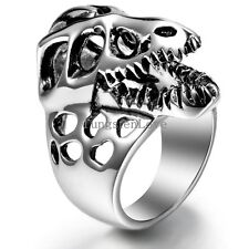 Men's Stainless Steel Retro Gothic Hollow Animal Mouth Ring Cool Band Size 8-12