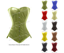 26 Double Steel Boned Waist Training Leather Overbust Long Line Corset #8151-LE