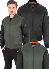 Urban Classics Men Bomber Jacket Flight Jacket Pilot Jacket Leather Sleeves