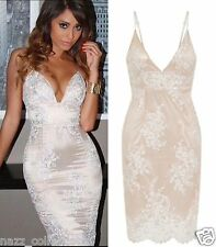 CELEB NUDE PLUNGE SCALLOPE LACE EMBROIDERY FITTED MIDI EVENING PARTY DRESS 6-16