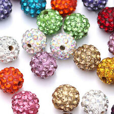 10Pcs Micro Pave Disco Crystal Spacer Loose Bead Bracelet Jewelry Findings 10MM