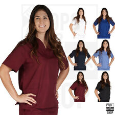 Unisex Men Women V-Neck Scrub Top Petite Size Medical Hospital Nursing Uniform
