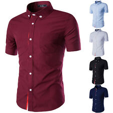 Stylish Mens Short Sleeve Slim Casual T-Shirts Business Formal Dress Shirts Tops