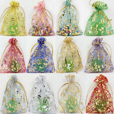 Lots 100Pcs Rose Organza Party Wedding Favor Gift Bag Candy Bag Pouches 12X9CM