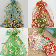 100Pcs Rose Flower Organza Party Wedding Favor Gift Candy Bag Pouches 18X13CM