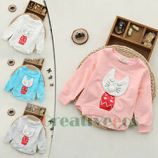 Fashion Kids Toddlers Boys Girls Small Cat Build 100% Cotton Tops T-Shirt 0-3T